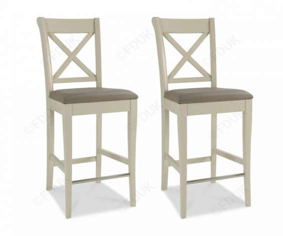 Bentley designs hampstead soft grey x back bar stool in pair