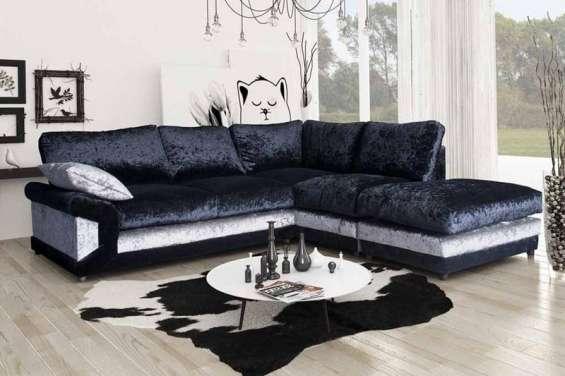 Buy fire retardant vargas crushed velvet corner sofa for living rooms- furniture stop