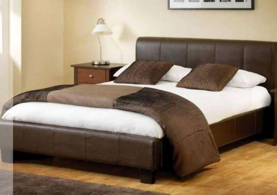 Get novo modern storage ottoman or standard faux leather bed with mattress at a reasonable