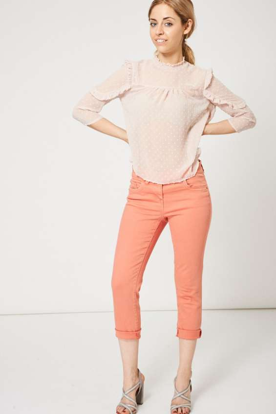 Coral pink raw hem straight leg jeans ex-branded available in plus sizes