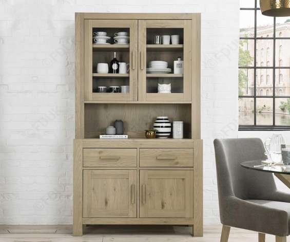 Bentley designs turin aged oak glazed dresser