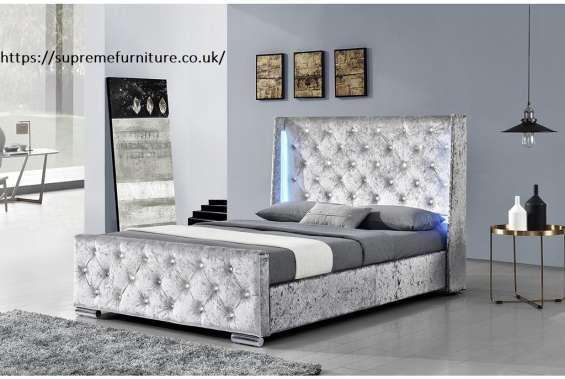 Sleep design dorchester led winged headboard fabric bed