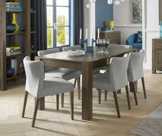 Bentley designs turin dark oak large extension dining table with 6 low back upholstered chairs