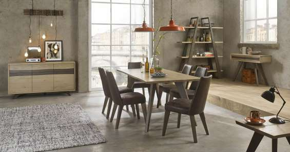Bentley designs cadell aged oak dining room furniture | console table & dining chair