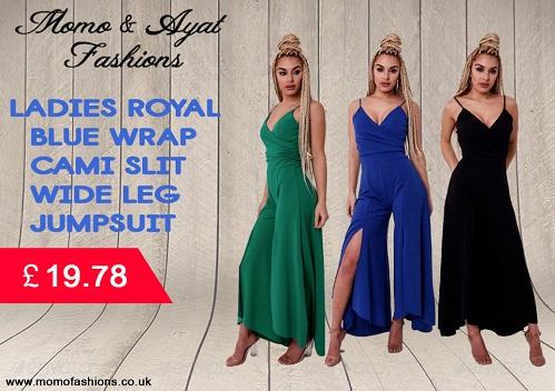 Ladies wrap cami slit wide leg jumpsuit uk