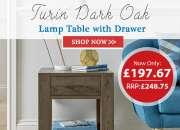 Bentley Designs Turin Dark Oak Lamp Table with Drawer | Furniture Direct UK