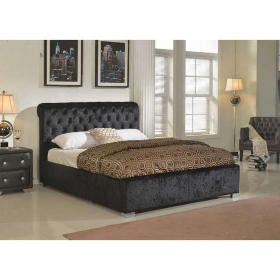 California crushed velvet storage bed