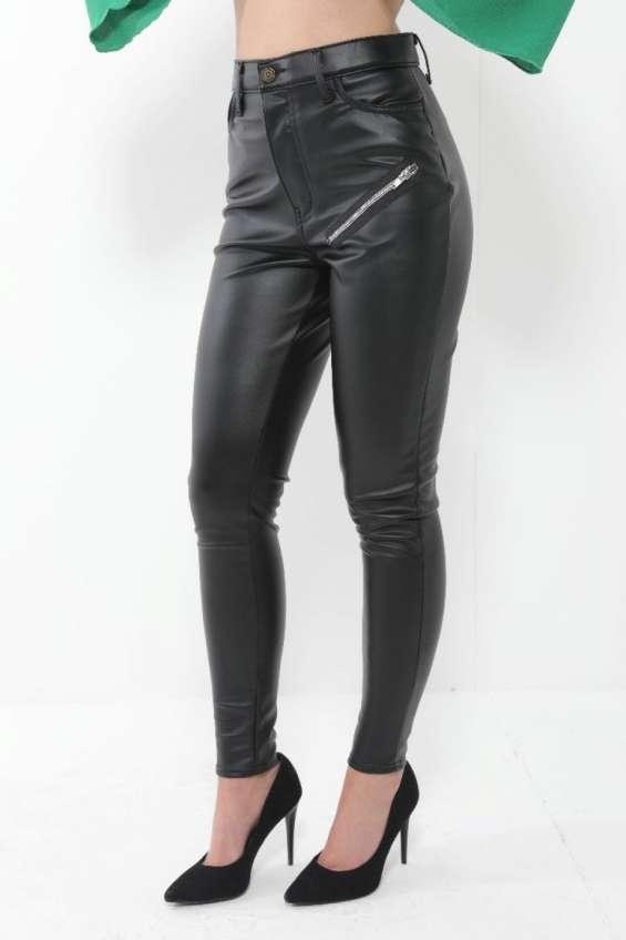 Ladies black pu trouser pants with zip detail uk