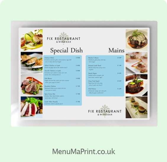 Plastic menu printing services in uk   waterproof menu printing