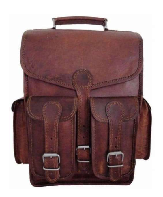 Handcrafted vintage leather backpack