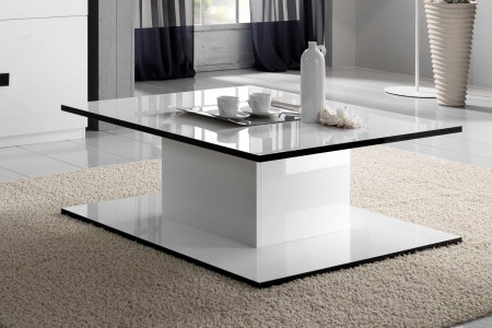Adina italian square noir black and white coffee table 100cm