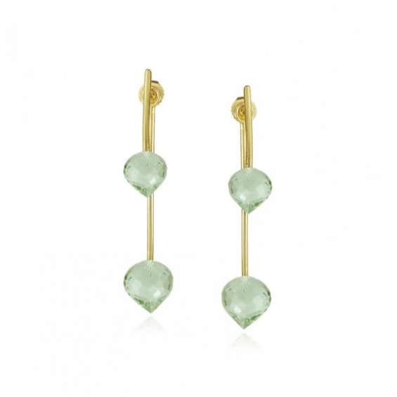Green amethyst vermeil earrings